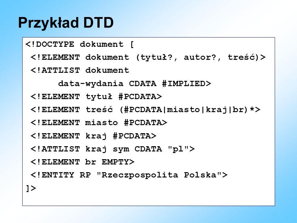 Przykład DTD <!DOCTYPE dokument [